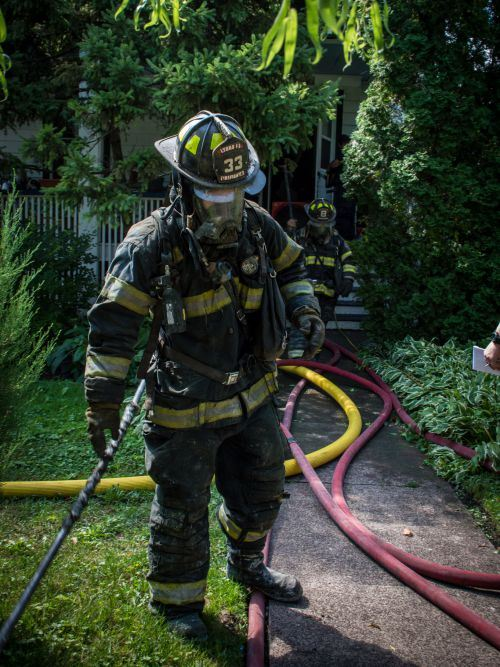 Firefighter at a house fire