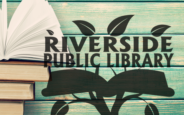 Riverside Library Logo over a background with books