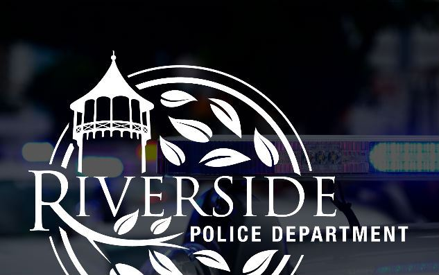 Riverside Police Logo with Police Siren Lights in the Background