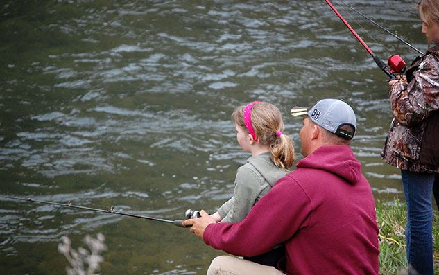 Father and two daughters fishing