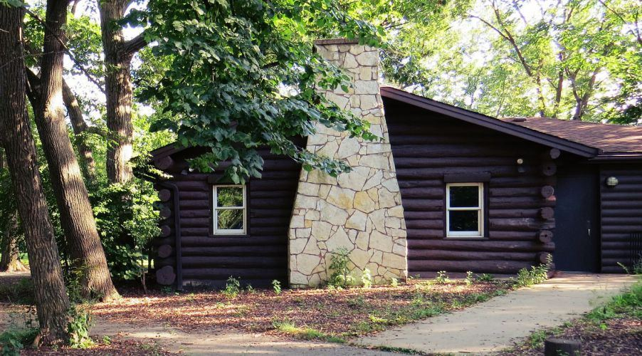 Scout Cabin surrounded by trees