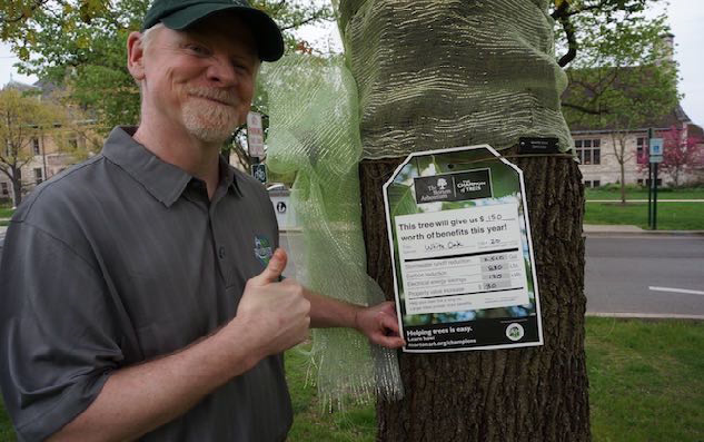 Forester Collins with Tree Tag in Guthrie Park