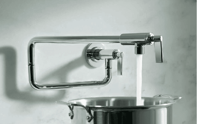 Water flowing out of a faucet