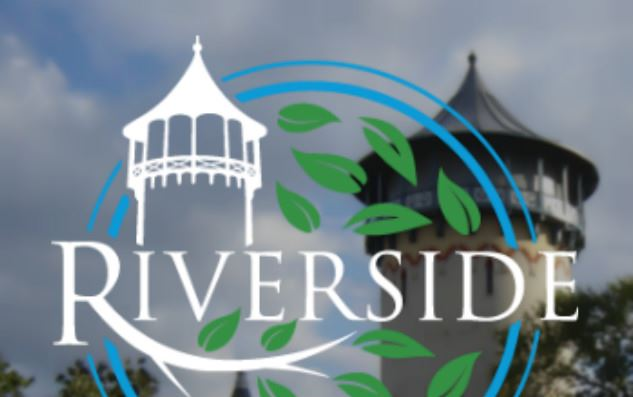 Riverside Logo with Tower in the Background