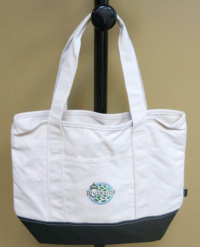 Riverside Tote Bag with the logo on the center and with a black bottom