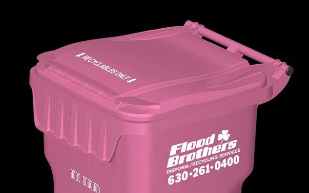 Flood Brothers Pink Recycling Cart