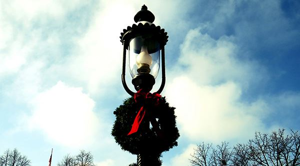 Gas Lamp During the Holiday Season