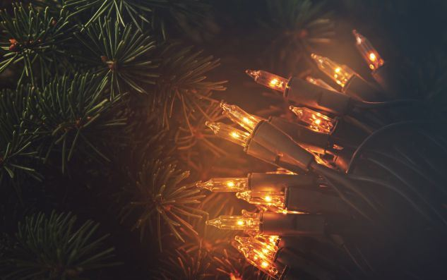Christmas lights and branches of spruce on wooden-surface