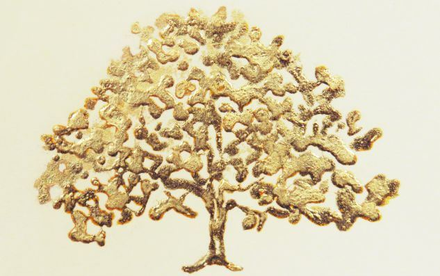 Gold Tree on White paper