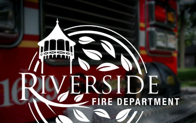 Riverside Fire Department Logo with fire truck in the background