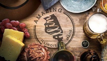 Illinois Made Logo Engraved in Wood surrounded by food and drinks