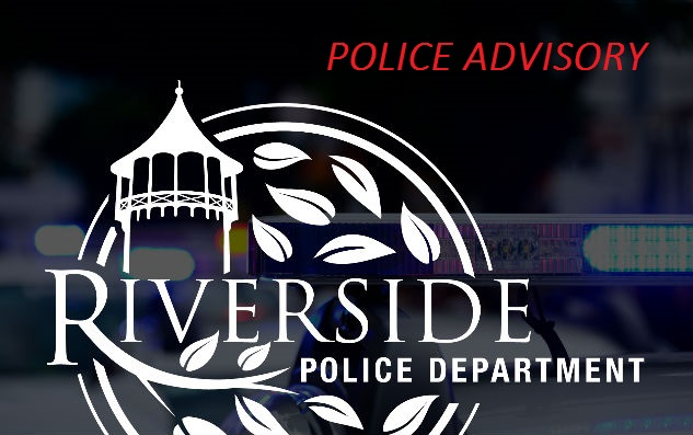 Riverside Police Logo with Police Siren Lights in the Background - POLICE ADVISORY
