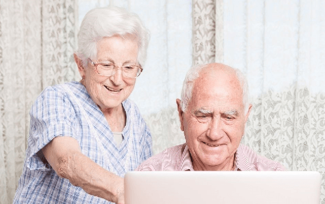 Senior Citizens with Computer