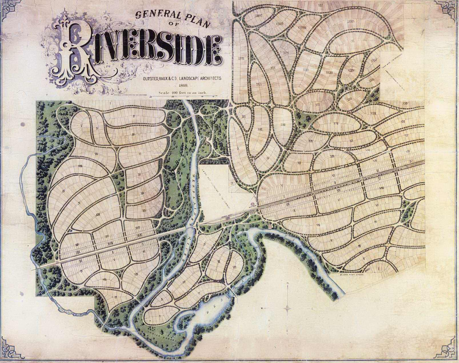Village of Riverside Landscape Map includes the river, forest and land sections.