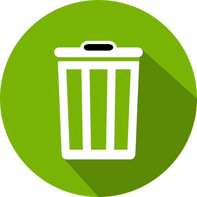 Trash Can Icon on Green Background